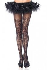 Floral Vine Net Pantyhose Black