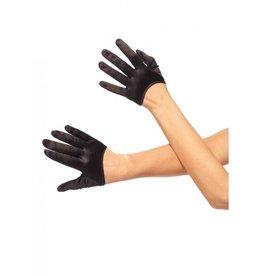 Black Mini Cropped Satin Gloves