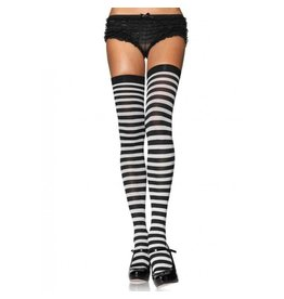 Black & White Striped Thigh High Stockings