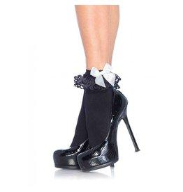 Black & White Ruffle Socks with Satin Bow Anklet