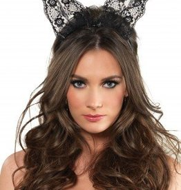 Black Scalloped Lace Bunny Ears