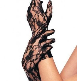 Black Stretch Lace Wrist Length Gloves