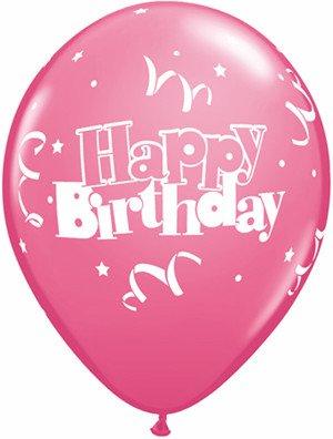 "11"" Printed Birthday Streamers & Stars Balloon 1 Dozen Flat"