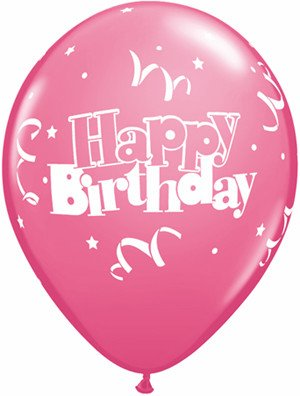 "11"" Printed Birthday Streamers & Stars Balloons 1 Dozen Flat"