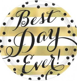 "Best Day Ever Round Metallic Plates, 7"" (8)"