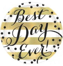 """Best Day Ever Round Metallic Plates, 10 1/2"""" (8)"""