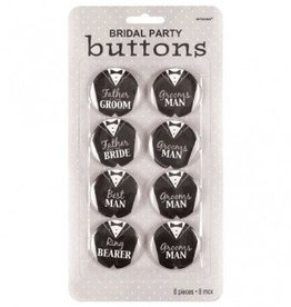 Groom Bridal Party Buttons (8)