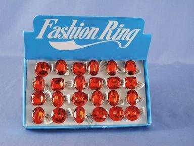 Fashion Rings Red/Clear