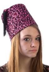 Fez Hat Pink Leopard
