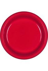 "Apple Red 10.25"" Plastic Plate (20)"