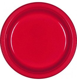 "Apple Red 10.25"" Plastic Plate (20)"