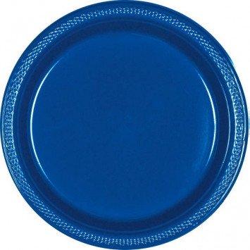 "Bright Royal Blue 10.25"" Plastic Plate (20)"