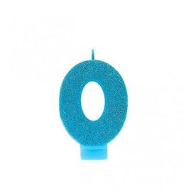 #0 Glitter Candle Caribbean Blue
