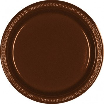 "Chocolate Brown 10.25"" Plastic Plate (20)"