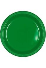 "Festive Green 9"" Plastic Plate (20)"