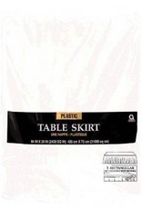 Frosty White Solid Color Plastic Table Skirt