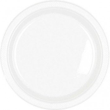 "Frosty White 7"" Plastic Plate (20)"