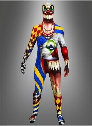 Adult Costume Morphsuit Scary Monster Clown Medium