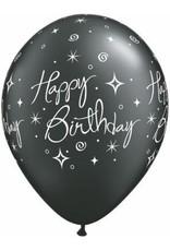 "11"" Printed Birthday Elegant Sparkle Swirl Balloons 1 Dozen Flat"