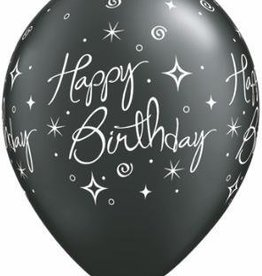 "11"" Printed Birthday Elegant Sparkle Swirl Balloon 1 Dozen Flat"