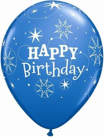 "11"" Printed Birthday Sparkle Dark Blue & Robin's Egg Blue Balloons 1 Dozen Flat"