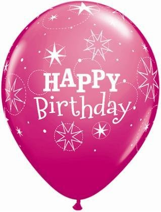 "11"" Printed Birthday Sparkle Standard Pink & Wild Berry Balloons 1 Dozen Flat"