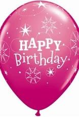 """11"""" Printed Birthday Sparkle Balloon 1 Dozen Flat"""