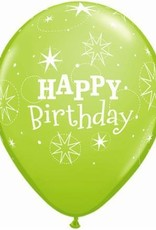 "11"" Printed Lime Green Birthday Sparkle Balloon 1 Dozen Flat"