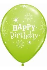 """11"""" Printed Birthday Sparkle Lime Green Balloons 1 Dozen Flat"""