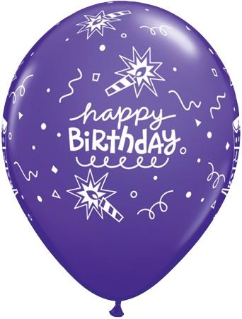 "11"" Printed Birthday Carnival Cake & Candles Balloons 1 Dozen Flat"