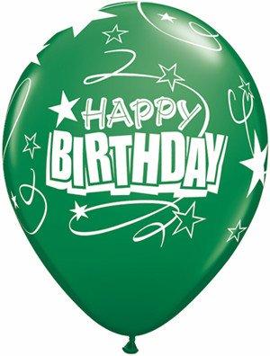 "11"" Printed Birthday Carnival Loops & Stars Balloons 1 Dozen Flat"