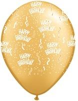 "11"" Printed Birthday Around Gold Balloons 1 Dozen Flat"