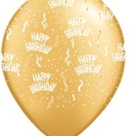 "11"" Printed Birthday Around Gold Balloons 1 Dozen Flat"