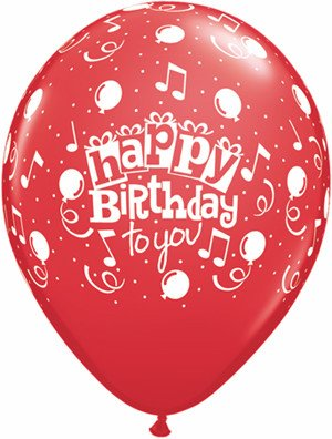 "11"" Printed Happy Birthday To You Balloon 1 Dozen Flat"