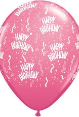 "11"" Printed Hot Rose Birthday Around Balloon 1 Dozen Flat"