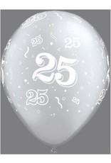 "11"" Printed 25th Anniversary Balloon 1 Dozen Flat"
