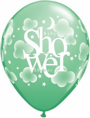 "11"" Printed Pastel Heavenly Baby Shower Balloon 1 Dozen Flat"