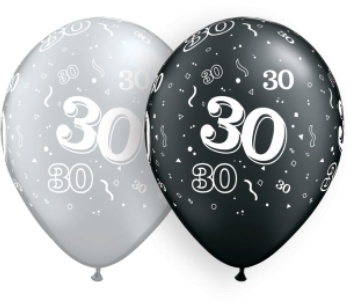 "11"" Printed #30 Around Silver & Black Balloon 1 Dozen Flat"