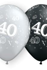 "11"" Printed #40 Around Black & Silver Balloon 1 Dozen Flat"