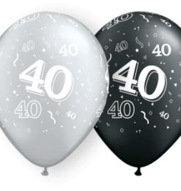 "11"" Printed #40 Around Black & Silver Balloon 1 Dozen Flat"