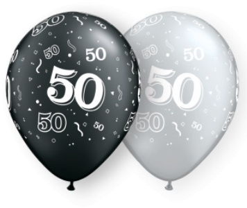 "11"" Printed #50 Around Black & Silver Balloon 1 Dozen Flat"