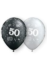 "11"" Printed #50 Around Black & Silver Balloon 1 Dozen Flat"
