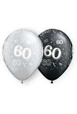 "11"" Printed #60 Around Black & Silver Balloon 1 Dozen Flat"