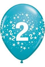 "11"" Printed Festive #2 Around Balloon 1 Dozen Flat"