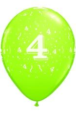 "11"" Printed Festive #4 Around Balloon 1 Dozen Flat"