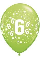 "11"" Printed Festive #6 Around Balloon 1 Dozen Flat"
