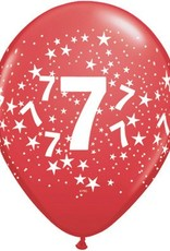 "11"" Printed Festive #7 Around Balloon 1 Dozen Flat"