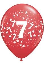 "11"" Printed Festive #7 Around Balloon 1 Dozen Flat"