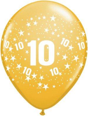 "11"" Printed Festive #10 Around Balloon 1 Dozen Flat"
