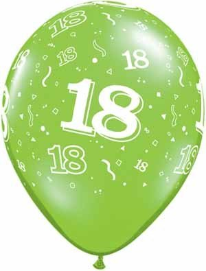 "11"" Printed Festive #18 Around Balloon 1 Dozen Flat"